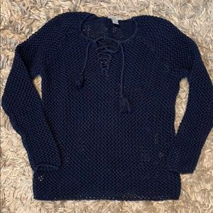 Navy blue cable knit peak through sweater